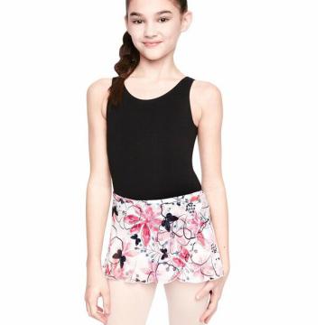 バレエスカート フラワープリント子供巻きスカート
