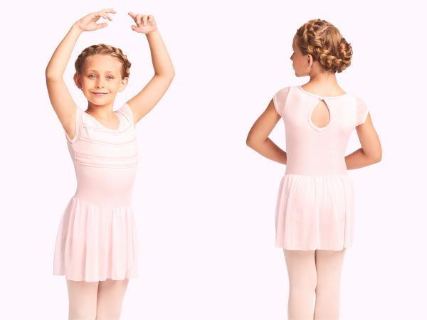 バレエ レオタード CAPEZIO ラッフルリボンデザインキャップスリーブ スカート付き 子供レオタード120 145 子ども ジュニア