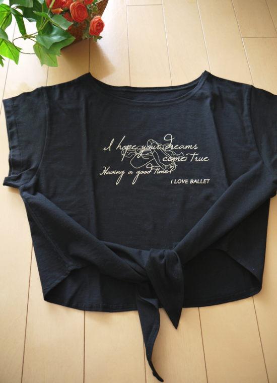 バレエTシャツ  ループ コットン T (バレエ&ドリーム柄 サイズ ジュニア大人フリー160)【メール便可】