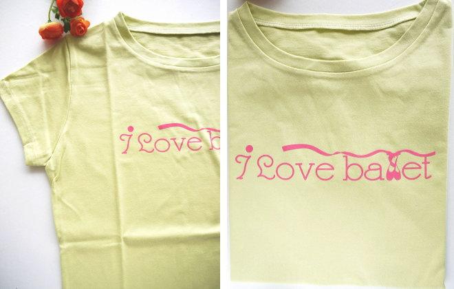 バレエTシャツ  BネックTシャツ I LOVE BALLET ライムグリーン サイズ ジュニア大人フリー(160)【メール便可】