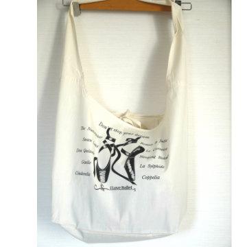 バレエ バッグ  ILB ショルダーバッグ インナーポケット付き バレエシューズ柄 アイボリー(生成り)