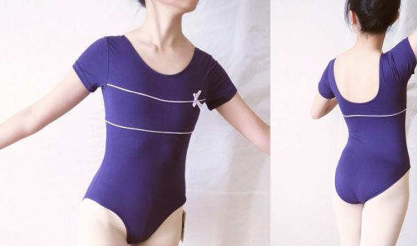 バイカラーラインデザイン半袖レオタード  バレエ用品