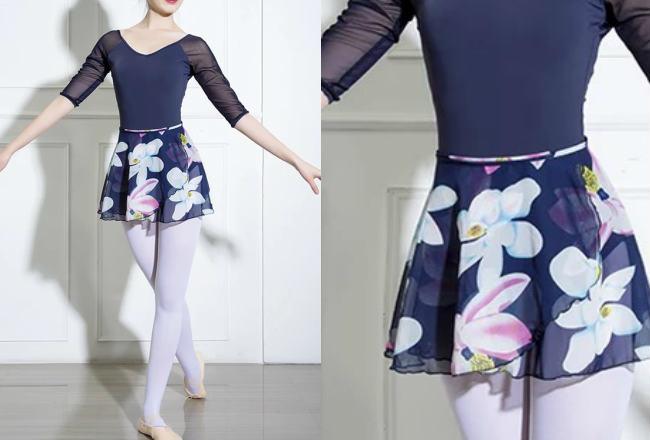 バレエスカートフラワーデザインシフォン巻きスカート ショート(サイズジュニア大人フリー160