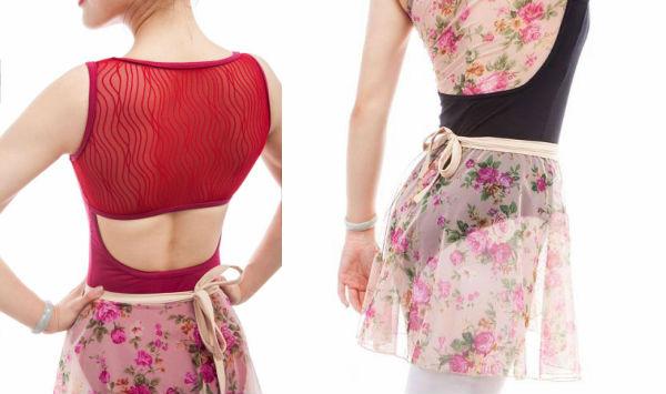 バレエ スカートフラワーシースループリント 巻きスカート ショート丈(サイズ140〜165)TR-032
