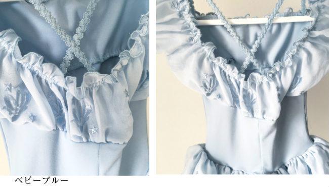 柄シフォンデザインオフショルダースカート付きレオタード  子供